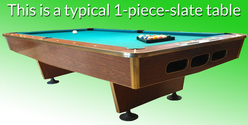 Typical One Piece Slate Pool Table On Green Background